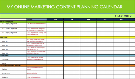 Calendrier de contenu marketing